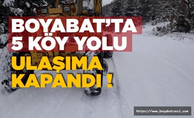 Kar geri geldi ! Boyabat'ta 5 köy yolu ulaşıma kapandı