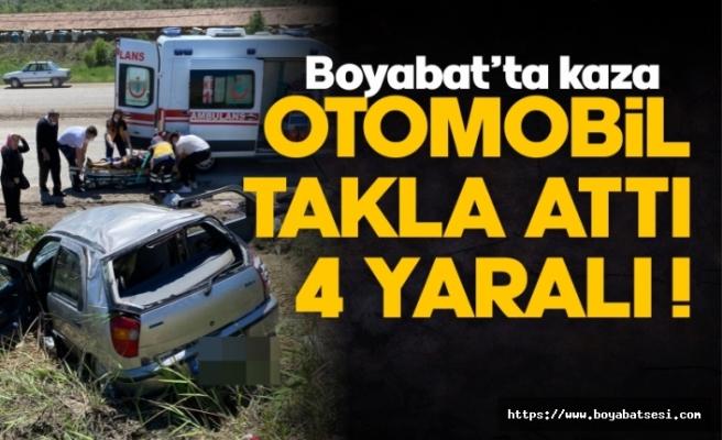 Boyabat'ta araç takla attı 4 yaralı !