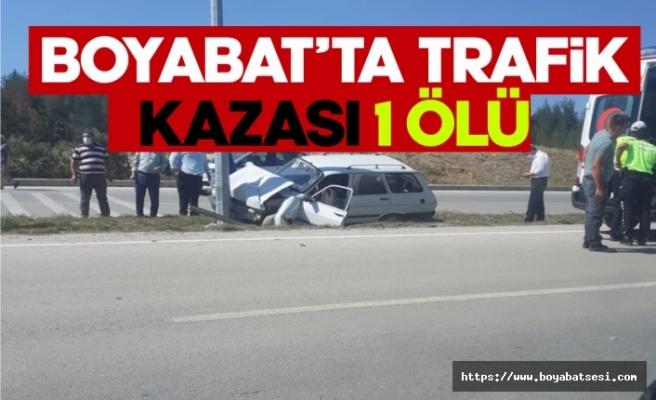 Boyabat Otogar mevkiinde trafik kazası 1 kişi hayatını kaybetti