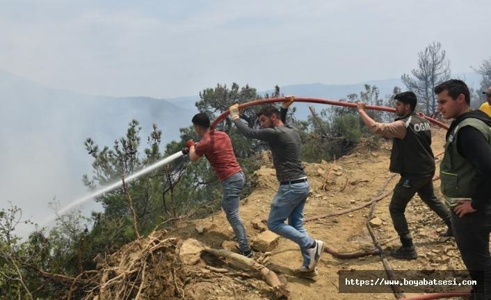 Kılıçlı köyündekiorman yangınının söndürme çalışmaları devam ediyor