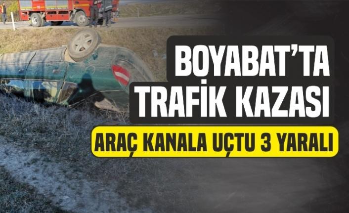 Boyabat'ta Trafik Kazası Araç Kanala Uçtu