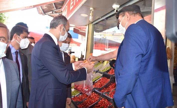 Boyabat'ta sezonun ilk kirazları Bakan Gül'e ikram edildi