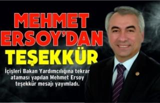 Mehmet Ersoy'dan Teşekkür