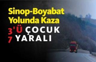 Sinop -Boyabat Yolunda Trafik Kazası 3'ü Çocuk...
