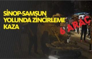 Sinop yolunda zincirleme trafik kazası